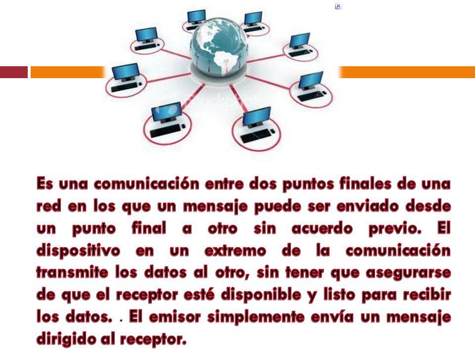Es una comunicación entre dos puntos finales de una red en los que un mensaje puede ser enviado desde un punto final a otro sin acuerdo previo.