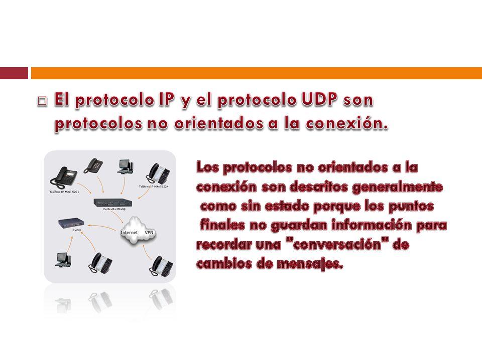 El protocolo IP y el protocolo UDP son protocolos no orientados a la conexión.