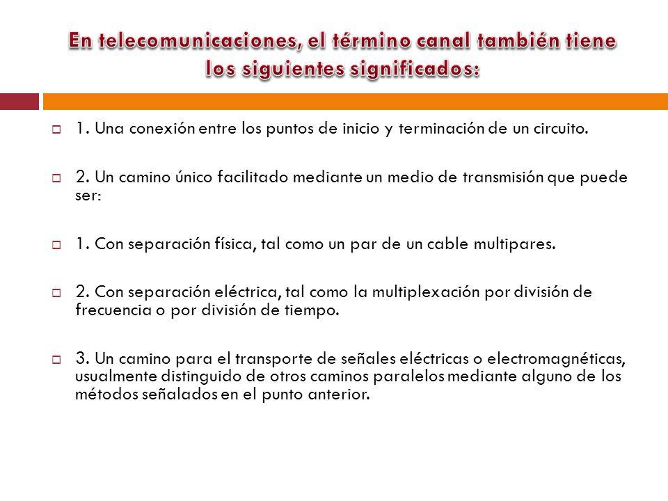 En telecomunicaciones, el término canal también tiene los siguientes significados: