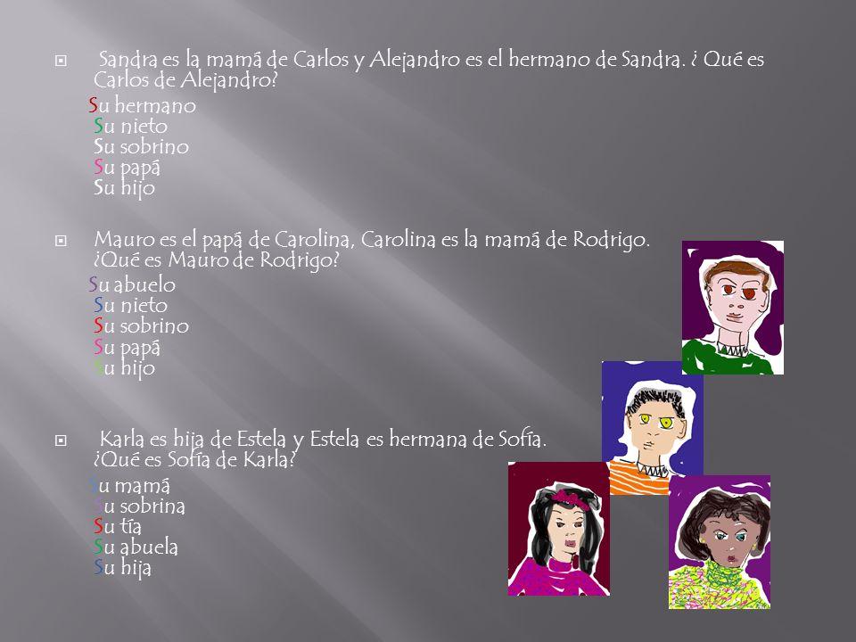Sandra es la mamá de Carlos y Alejandro es el hermano de Sandra