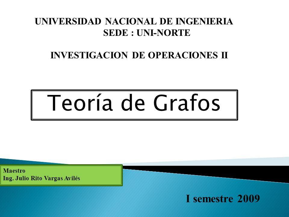 Teoría de Grafos I semestre 2009 UNIVERSIDAD NACIONAL DE INGENIERIA