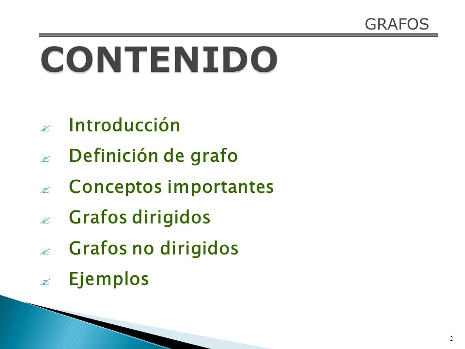 CONTENIDO Introducción Definición de grafo Conceptos importantes