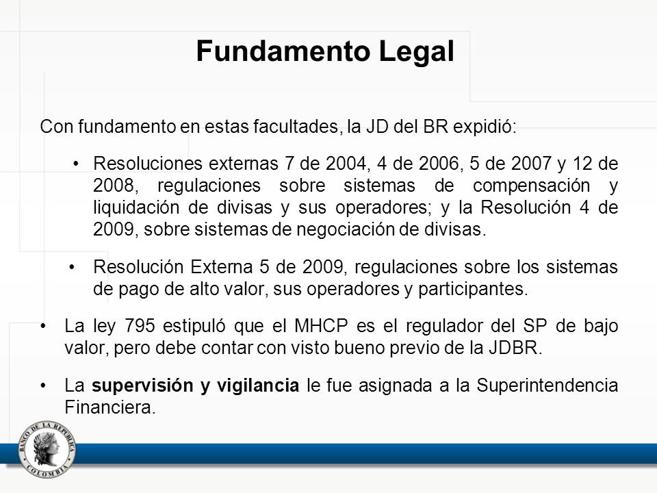 Fundamento Legal Con fundamento en estas facultades, la JD del BR expidió: