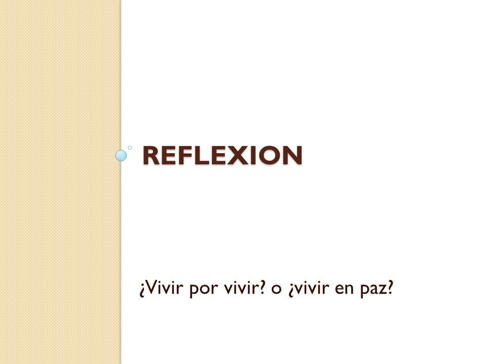 REFLEXION ¿Vivir por vivir o ¿vivir en paz
