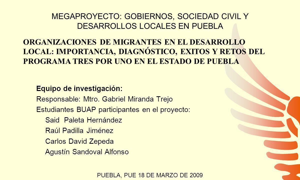 MEGAPROYECTO: GOBIERNOS, SOCIEDAD CIVIL Y DESARROLLOS LOCALES EN PUEBLA