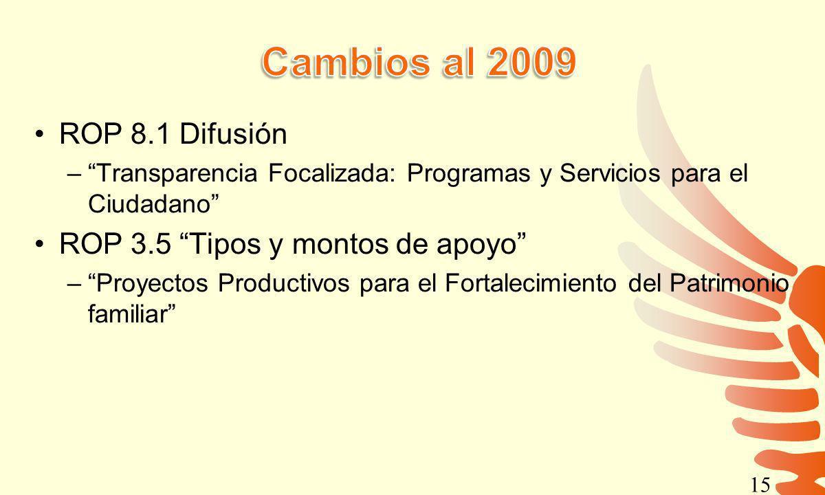 Cambios al 2009 ROP 8.1 Difusión ROP 3.5 Tipos y montos de apoyo