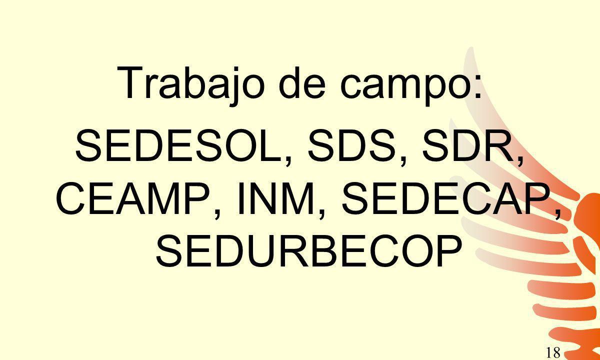 Trabajo de campo: SEDESOL, SDS, SDR, CEAMP, INM, SEDECAP, SEDURBECOP