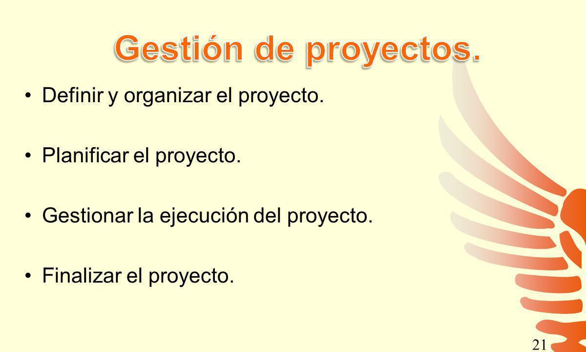 Gestión de proyectos. Definir y organizar el proyecto.