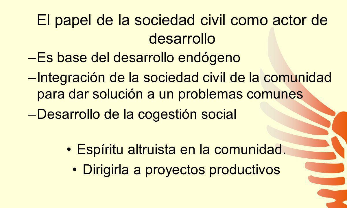 El papel de la sociedad civil como actor de desarrollo
