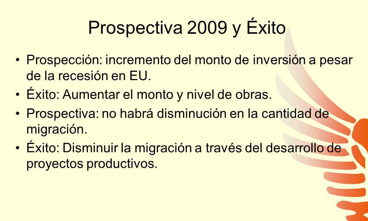 Prospectiva 2009 y Éxito Prospección: incremento del monto de inversión a pesar de la recesión en EU.