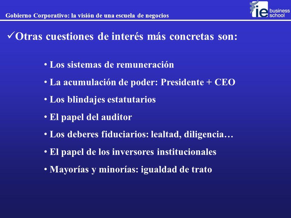 Otras cuestiones de interés más concretas son: