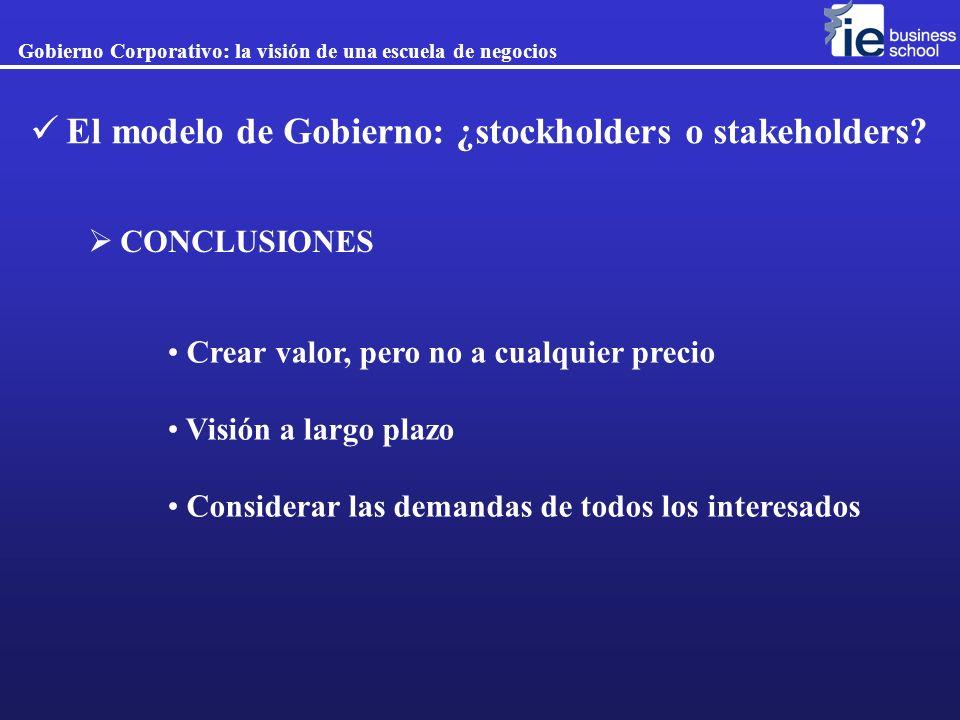 El modelo de Gobierno: ¿stockholders o stakeholders