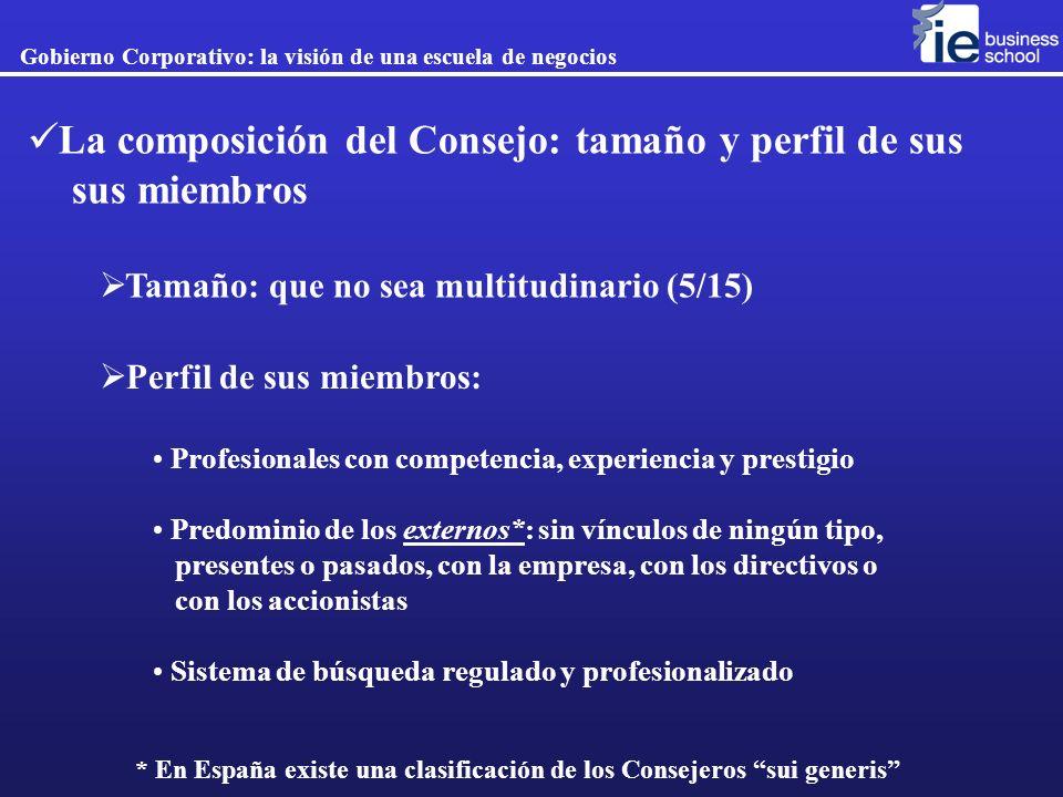 La composición del Consejo: tamaño y perfil de sus