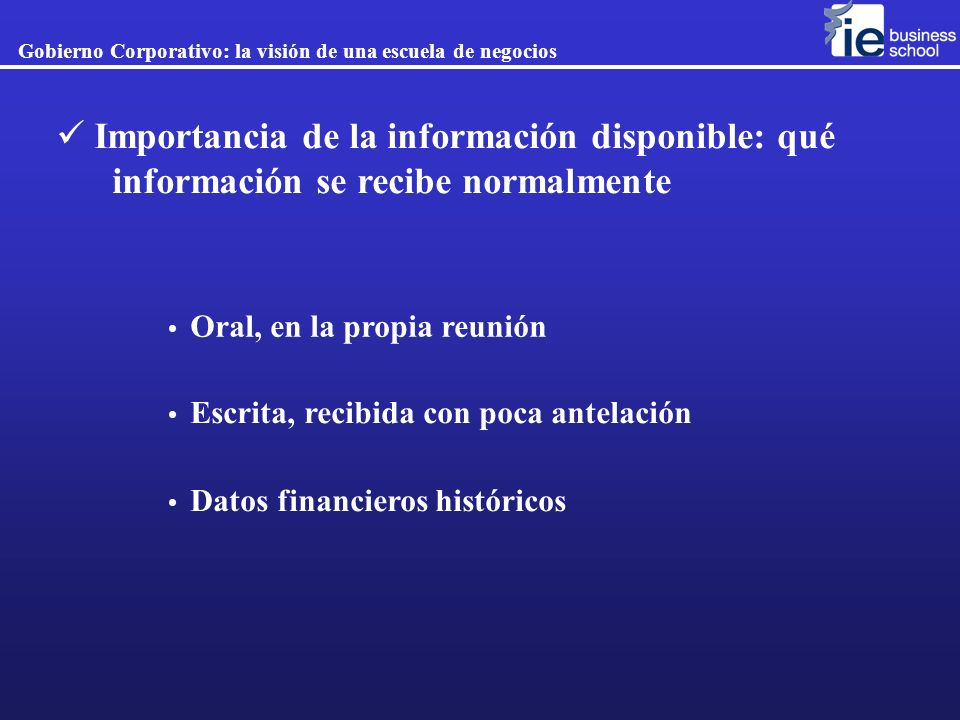 Importancia de la información disponible: qué