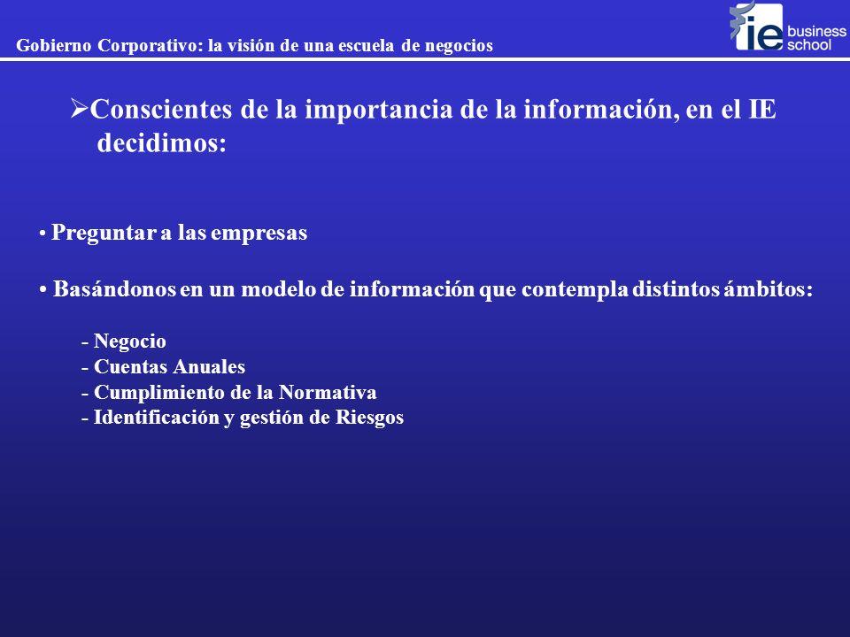 Conscientes de la importancia de la información, en el IE decidimos: