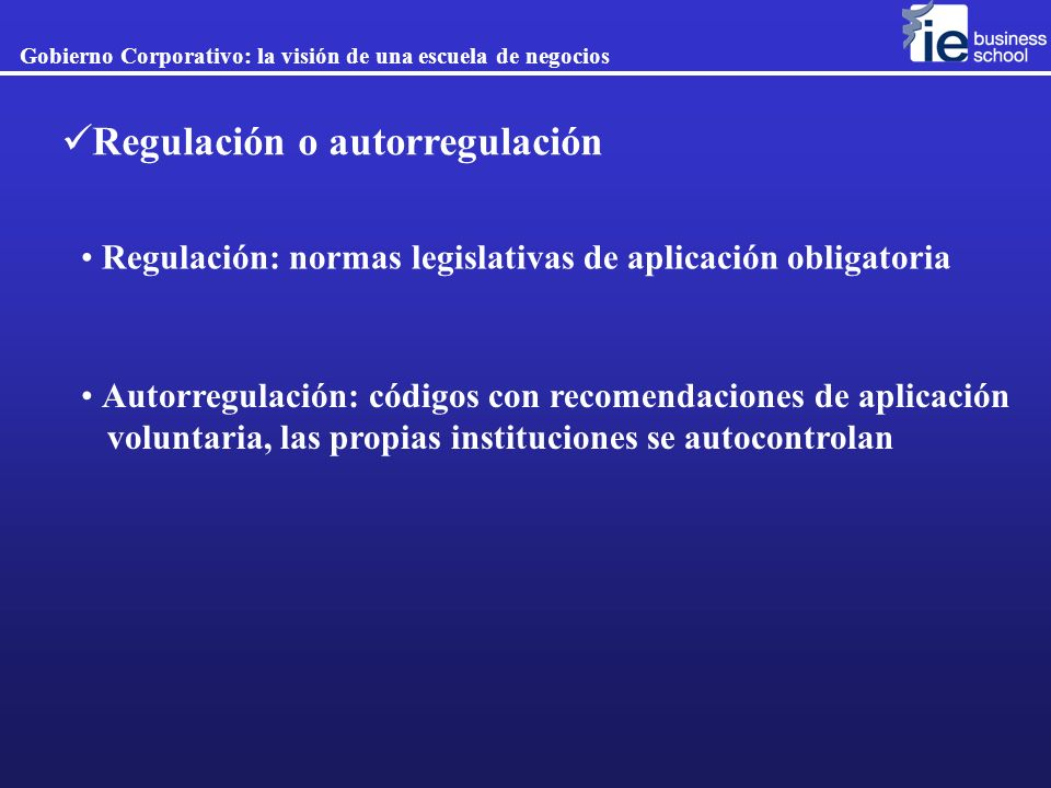 Regulación o autorregulación