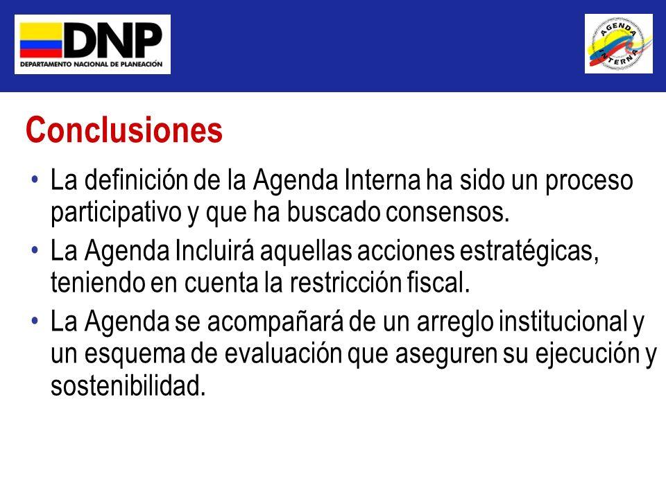 Conclusiones La definición de la Agenda Interna ha sido un proceso participativo y que ha buscado consensos.
