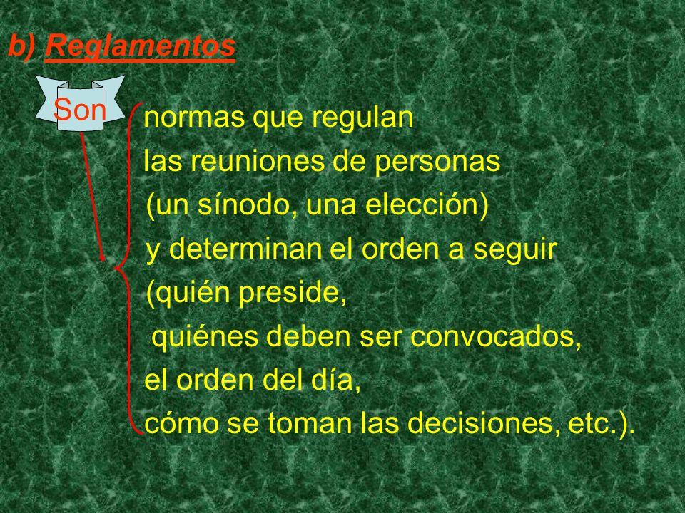 b) Reglamentos normas que regulan. las reuniones de personas. (un sínodo, una elección) y determinan el orden a seguir.