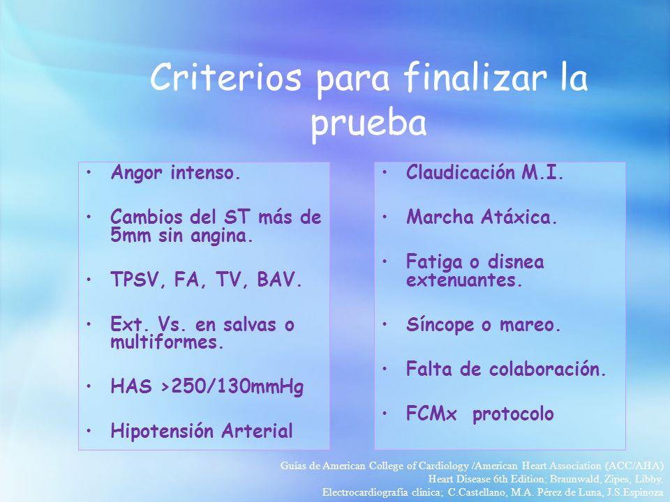 Criterios para finalizar la prueba