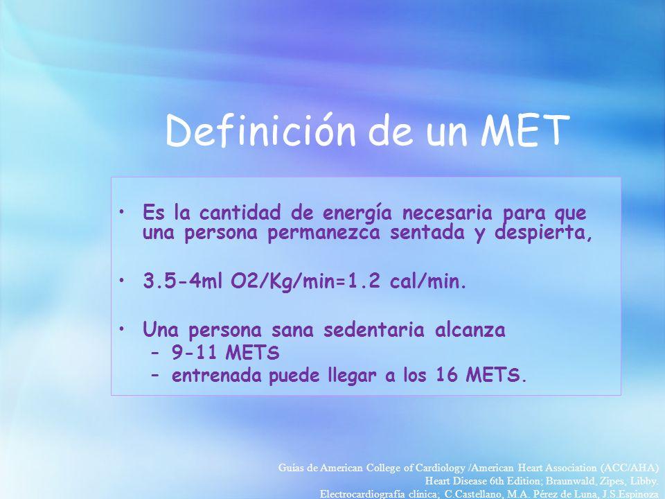 Definición de un MET Es la cantidad de energía necesaria para que una persona permanezca sentada y despierta,