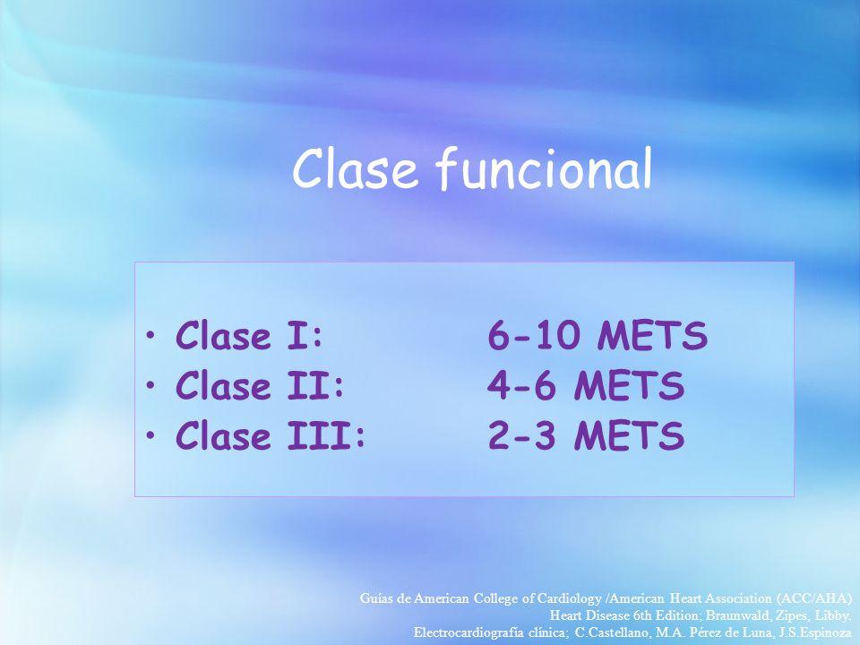 Clase funcional Clase I: 6-10 METS Clase II: 4-6 METS