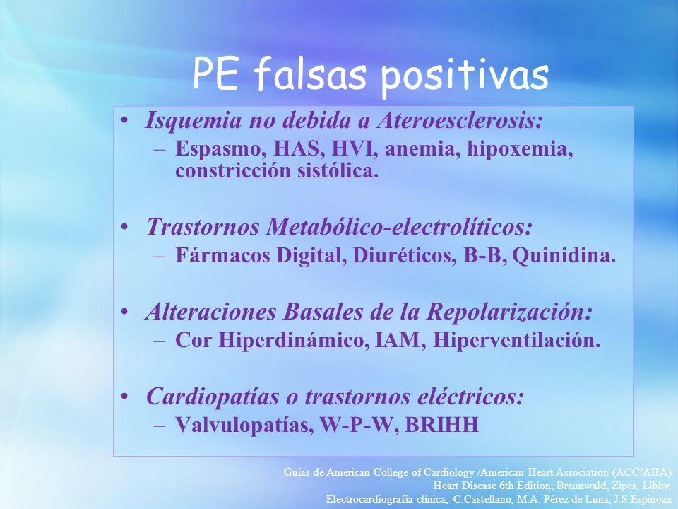 PE falsas positivas Isquemia no debida a Ateroesclerosis: