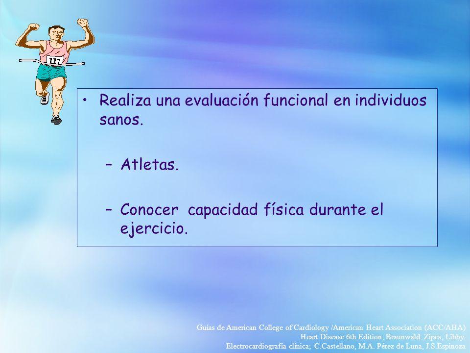 Realiza una evaluación funcional en individuos sanos.