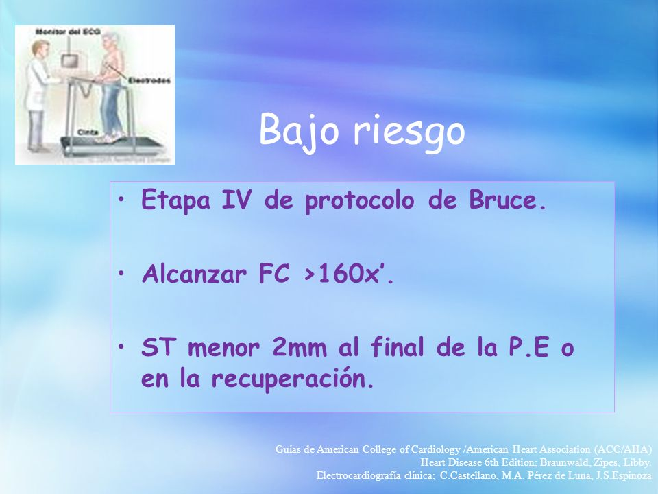 Bajo riesgo Etapa IV de protocolo de Bruce. Alcanzar FC >160x'.