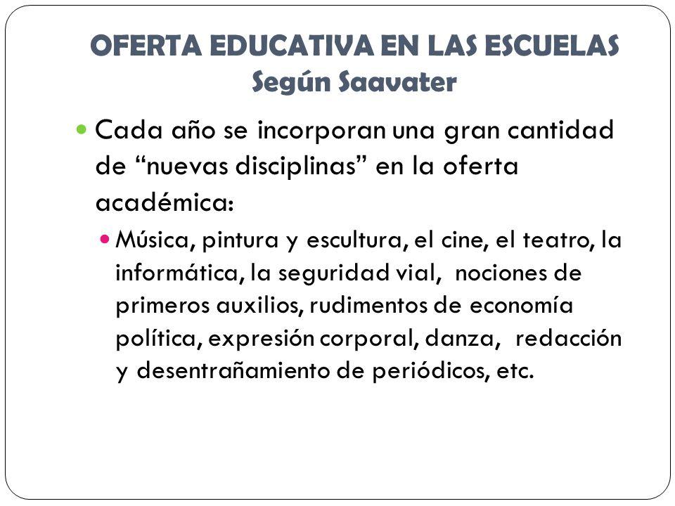 OFERTA EDUCATIVA EN LAS ESCUELAS Según Saavater