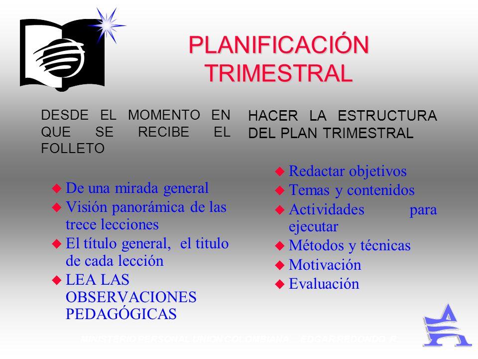 PLANIFICACIÓN TRIMESTRAL