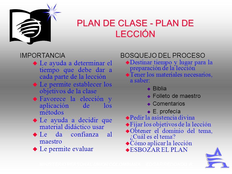 PLAN DE CLASE - PLAN DE LECCIÓN