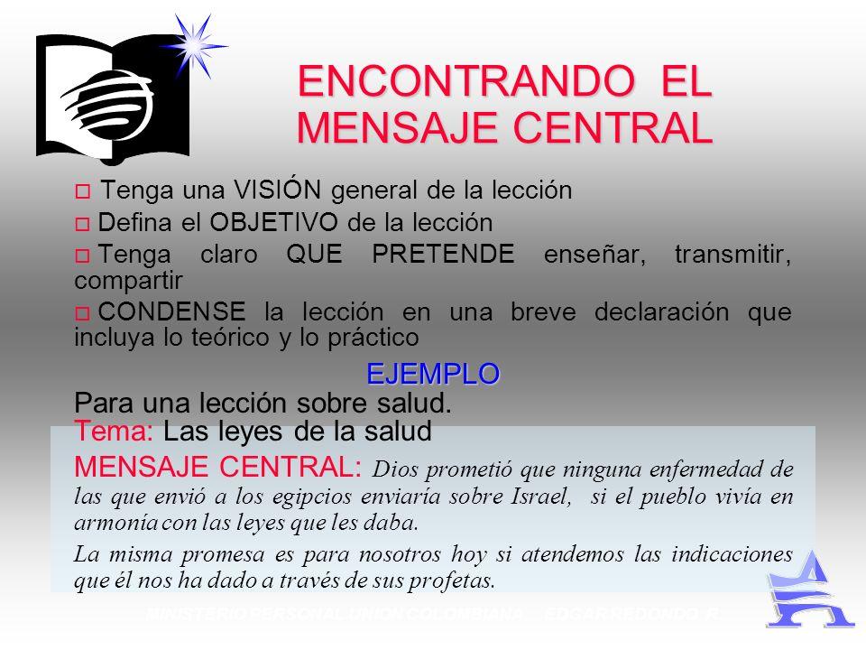 ENCONTRANDO EL MENSAJE CENTRAL