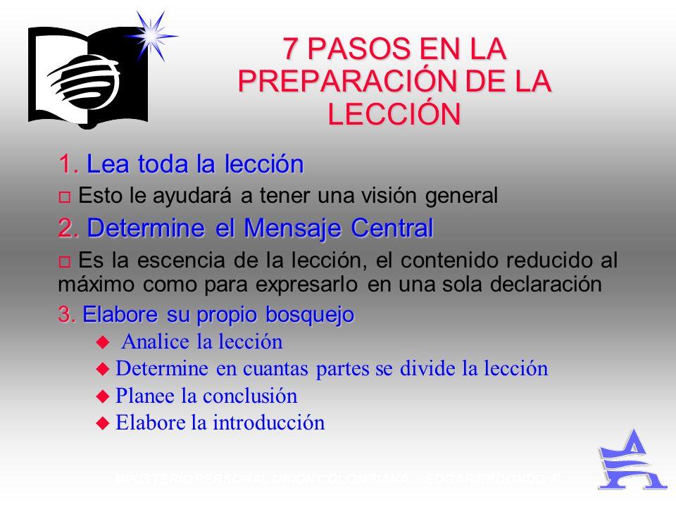 7 PASOS EN LA PREPARACIÓN DE LA LECCIÓN