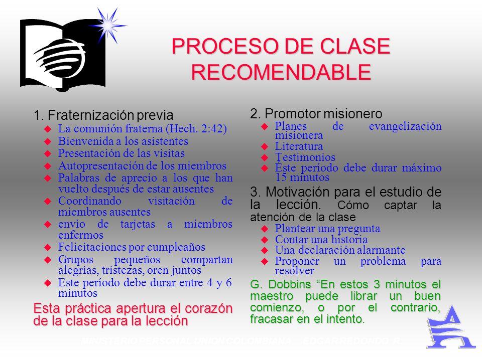 PROCESO DE CLASE RECOMENDABLE