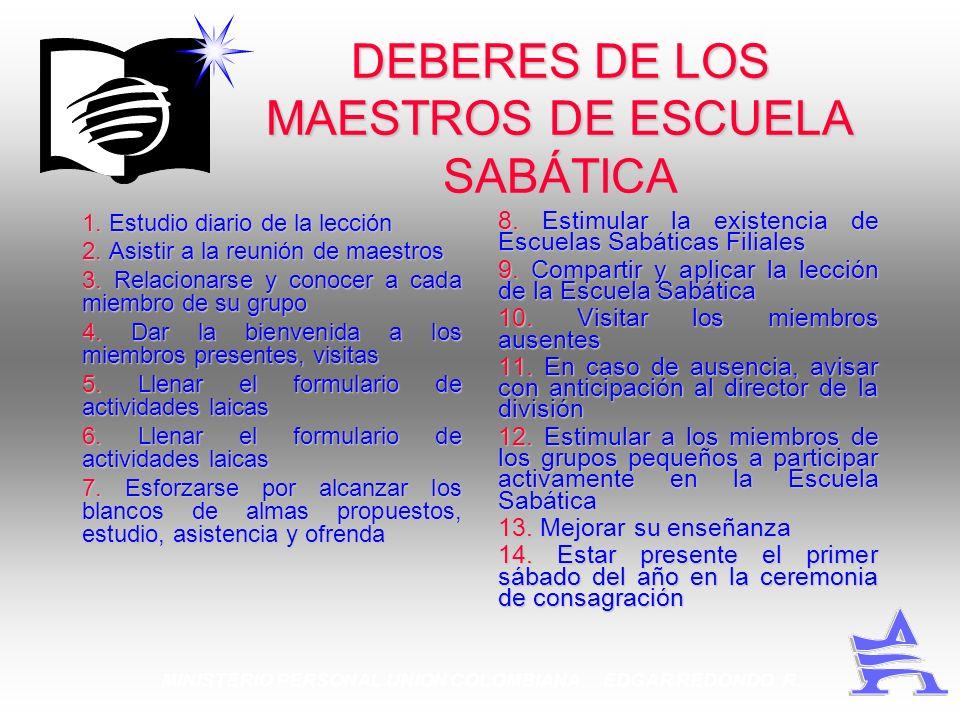 DEBERES DE LOS MAESTROS DE ESCUELA SABÁTICA