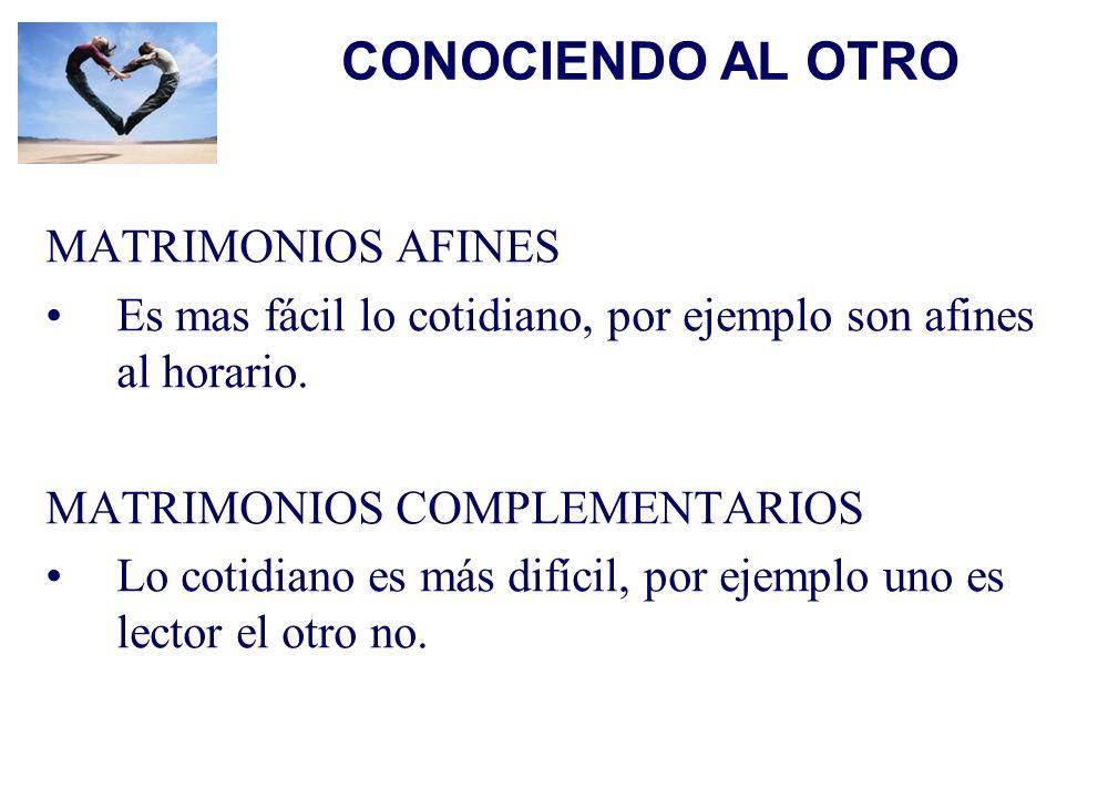 CONOCIENDO AL OTRO MATRIMONIOS AFINES