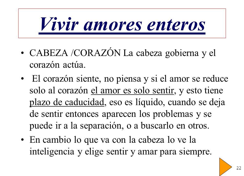 Vivir amores enteros CABEZA /CORAZÓN La cabeza gobierna y el corazón actúa.