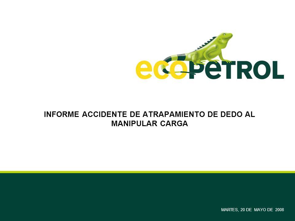 INFORME ACCIDENTE DE ATRAPAMIENTO DE DEDO AL MANIPULAR CARGA