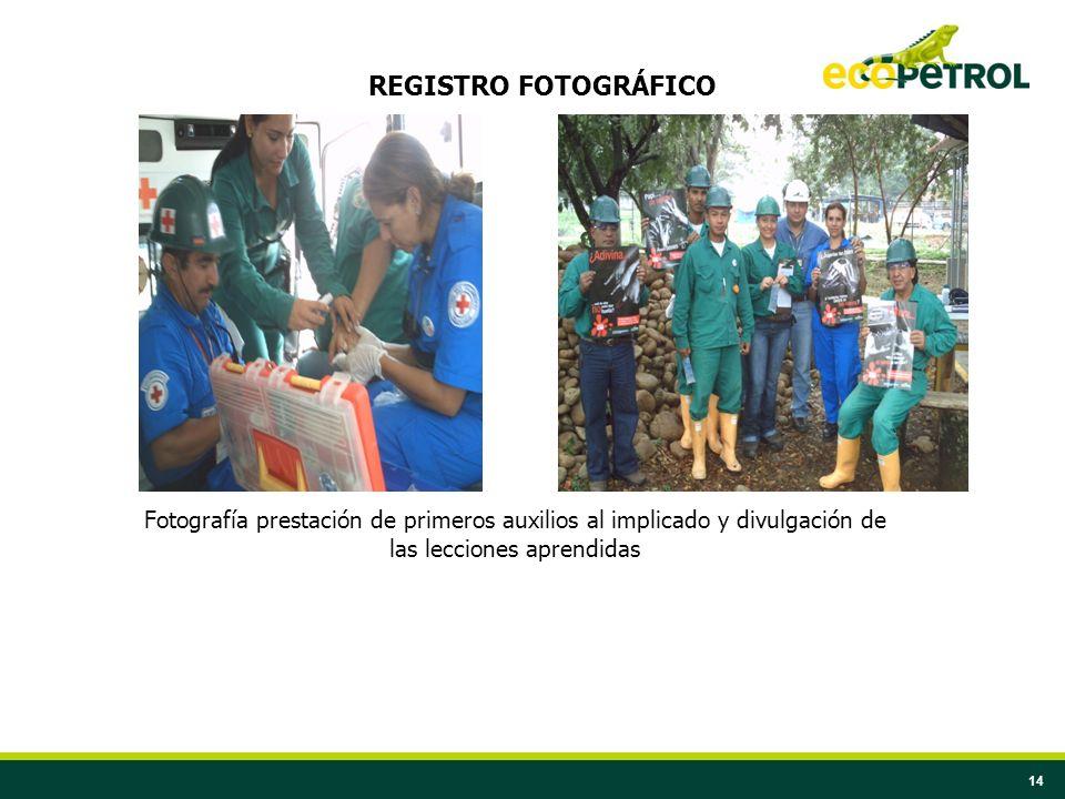 REGISTRO FOTOGRÁFICO Fotografía prestación de primeros auxilios al implicado y divulgación de las lecciones aprendidas.