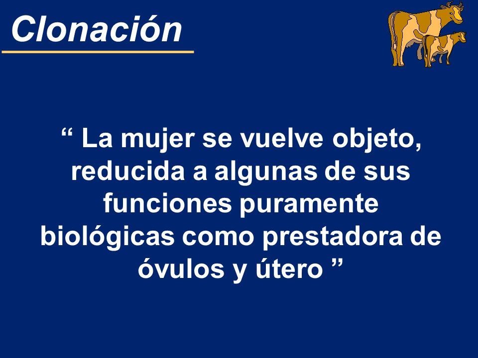 La mujer se vuelve objeto, reducida a algunas de sus funciones puramente biológicas como prestadora de óvulos y útero