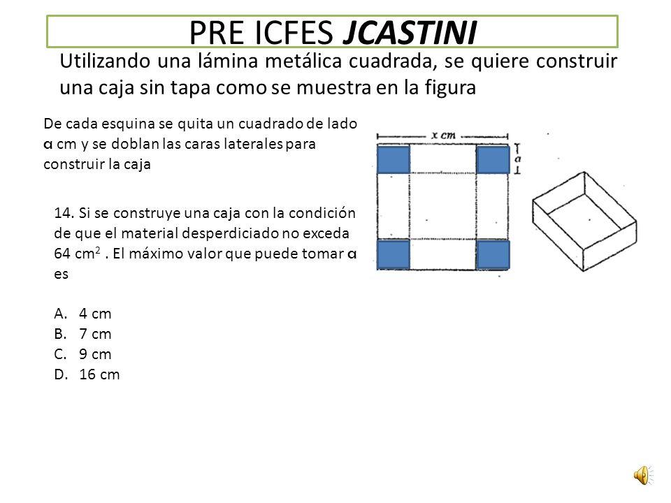 PRE ICFES JCASTINI Utilizando una lámina metálica cuadrada, se quiere construir una caja sin tapa como se muestra en la figura.
