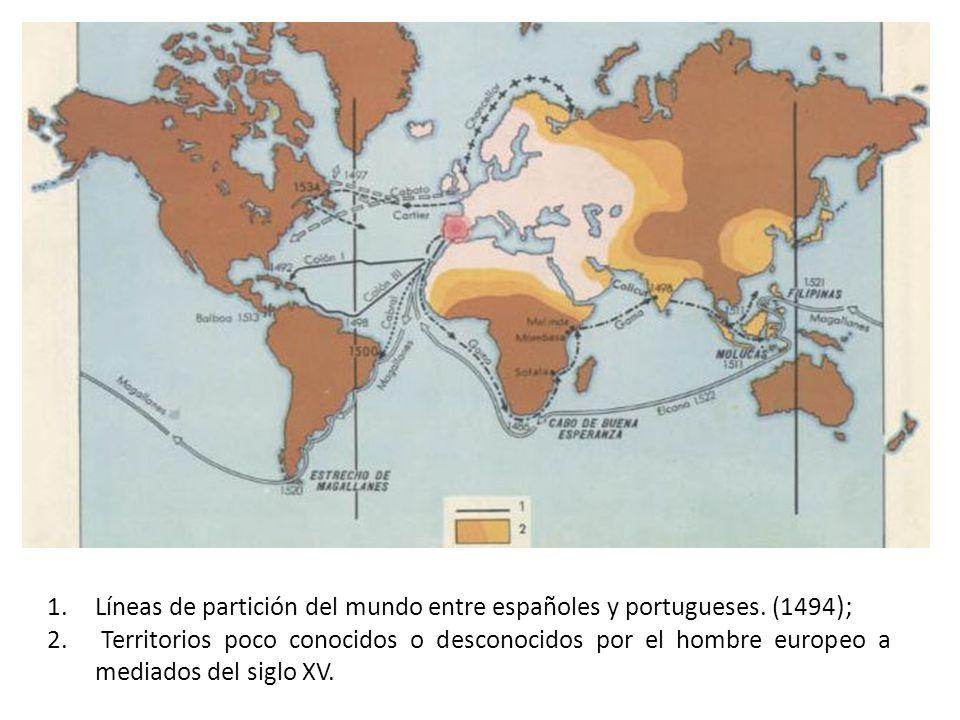 Líneas de partición del mundo entre españoles y portugueses. (1494);