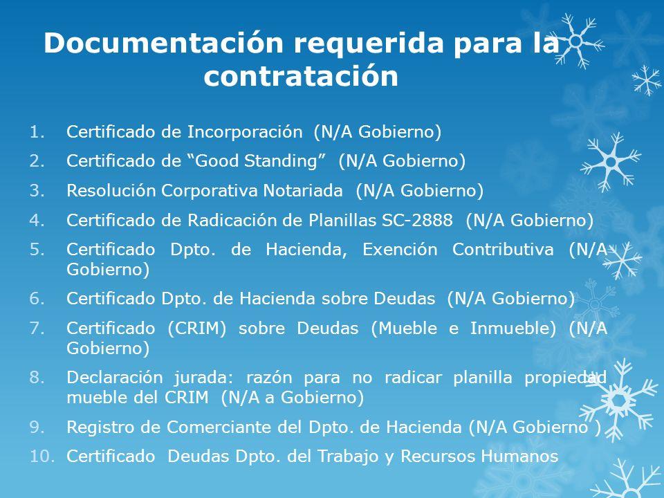 Documentación requerida para la contratación