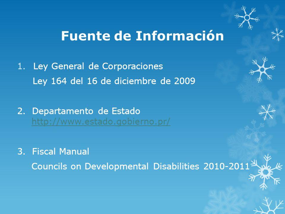 Fuente de Información Ley General de Corporaciones