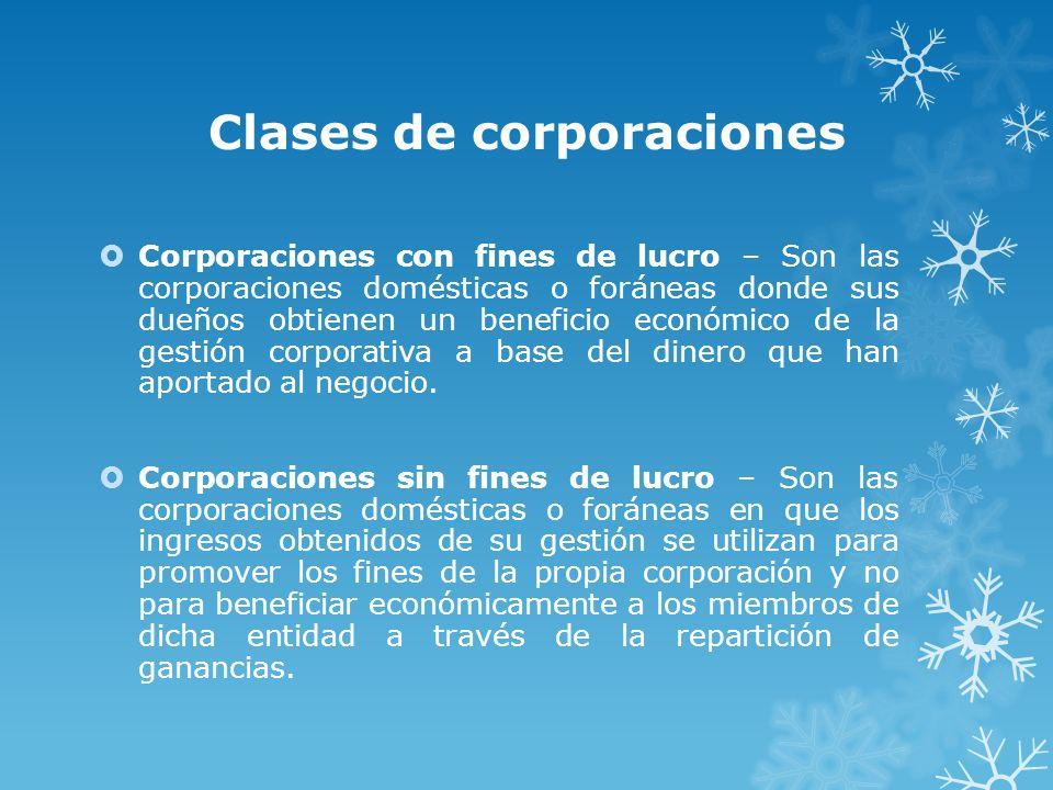 Clases de corporaciones
