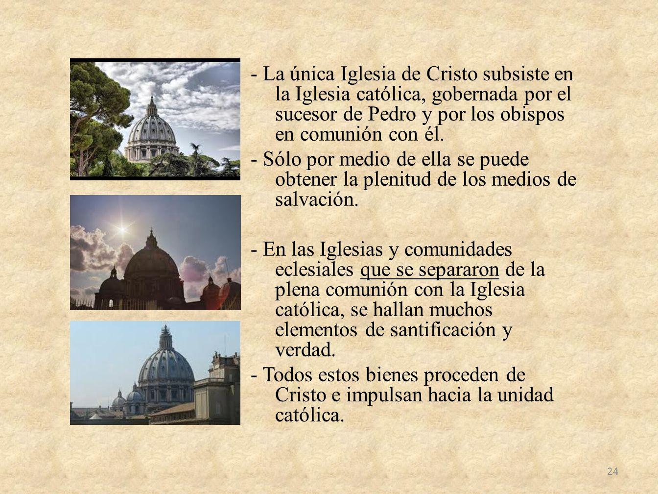 - La única Iglesia de Cristo subsiste en la Iglesia católica, gobernada por el sucesor de Pedro y por los obispos en comunión con él.