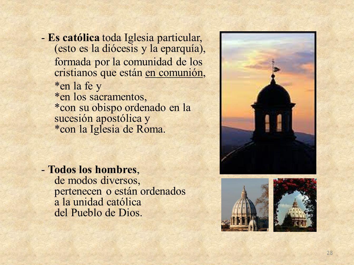 - Es católica toda Iglesia particular, (esto es la diócesis y la eparquía), formada por la comunidad de los cristianos que están en comunión, *en la fe y *en los sacramentos, *con su obispo ordenado en la sucesión apostólica y *con la Iglesia de Roma.