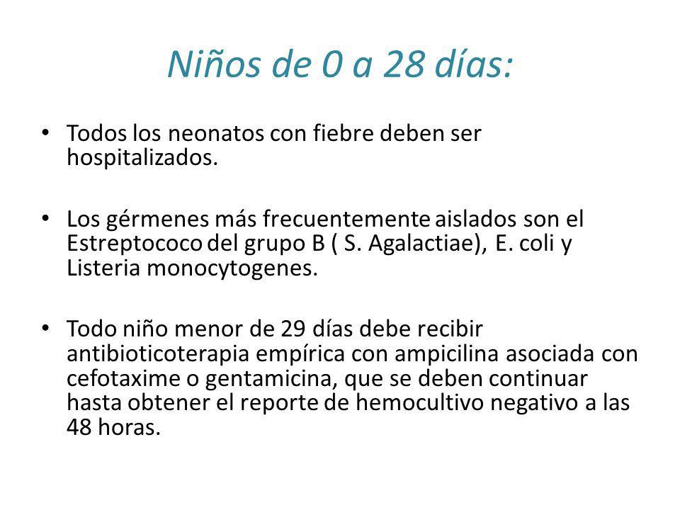 Niños de 0 a 28 días: Todos los neonatos con fiebre deben ser hospitalizados.