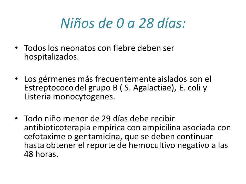Niños de 0 a 28 días:Todos los neonatos con fiebre deben ser hospitalizados.