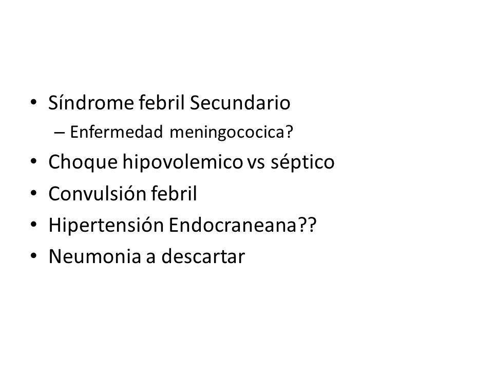 Síndrome febril Secundario Choque hipovolemico vs séptico